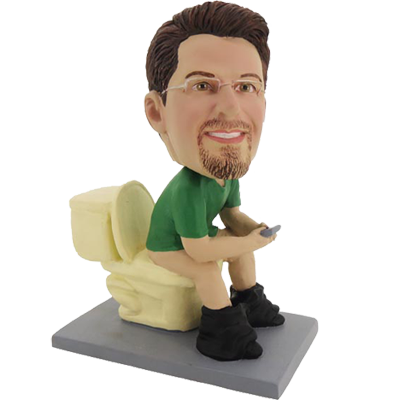 Customized Bobble Head of Man on Closetool