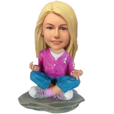 Personalized Female Meditating Bobble Head