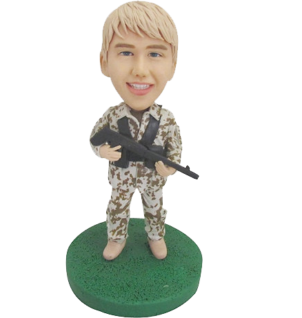 Customized Army Bobblehead With Machine Gun