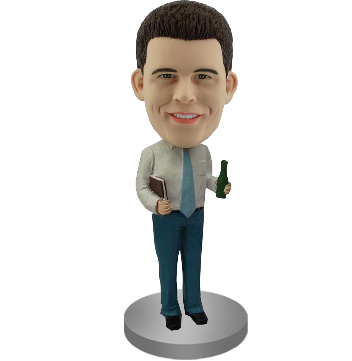 Custom Bobble Head of Boss With Beer and Binder