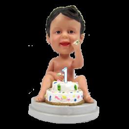 1st Year Birthday Bobble Head Cake Topper