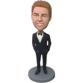 Black Suit Groomsman Personalized Bobblehead