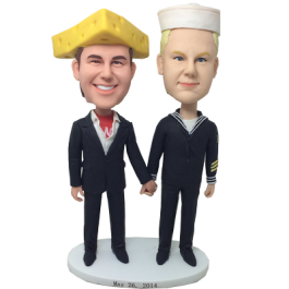 Cheesehead and  Marine Wedding Bobbles