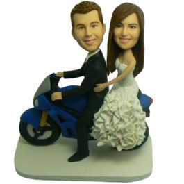 Couple on Motorbike Personalized Bobbleheads
