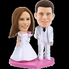 Custom White Tie Wedding Bobble head
