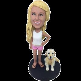 Girl and Dog Custom Bobblehead