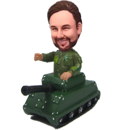 Military on Tank Custom Bobblehead