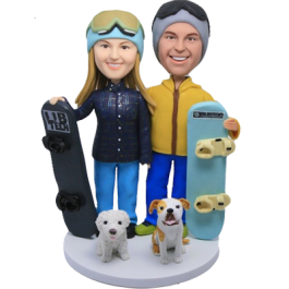 Snow Boarding Couple Cake Toppers