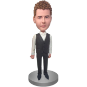 Black Vest Groomsman Bobble Head