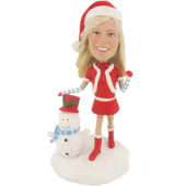 Personalized Christmas Girl Bobble Head
