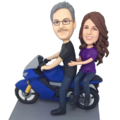 Couple on Motorbike Custom Bobbleheads