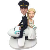 Couple on Plane Custom Bobblehead