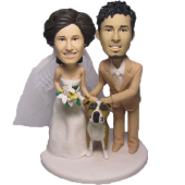 Custom Couple and Pet Cake Topper