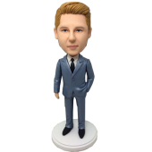 Dark Grey Suit Groomsman Bobblehead