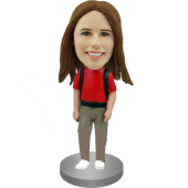 Female Backpacker Custom Bobble Head