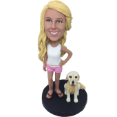 Girl and Dog Custom Bobblehead