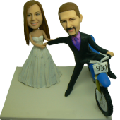 Groom on Bike Wedding Bobbleheads