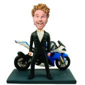 Man and Motorcycle Custom Bobblehead