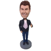 Man In Black Jacket Custom Bobblehead