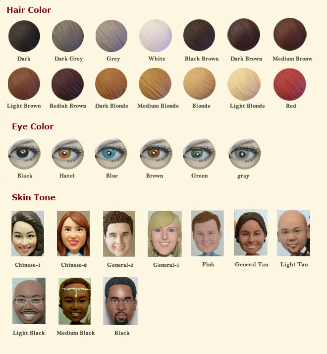 Bobblehead Color Chart