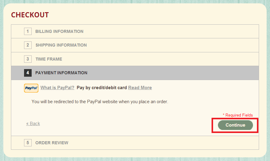 the payment infomation on the checkout page