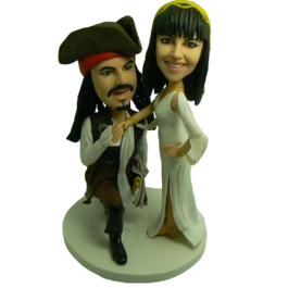 Caribbean Pirate Wedding Cake Toppers