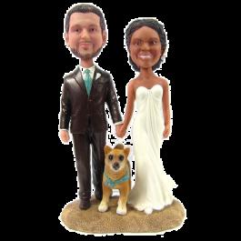 Couple and Dog Wedding Cake Topper