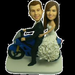 Couple on Motorbike Personalized Bobbleheads