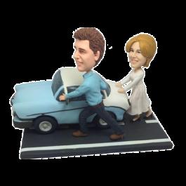 Couple Pushing Car