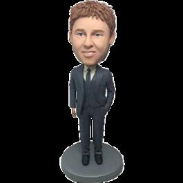 Dark Grey Suit Groomsman Bobble Head