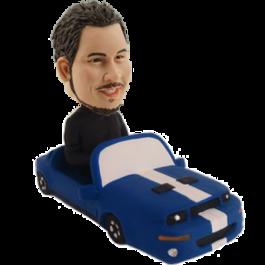 Man in Blue Car