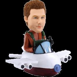 Bobble Head of Pilot Enjoying His Journey