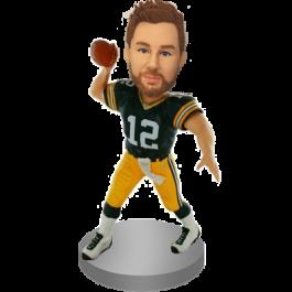 Personalized Green Jersey Football Bobblehead