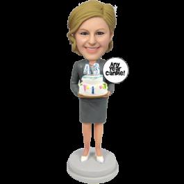 Skirt Suit Lady Birthday Bobblehead