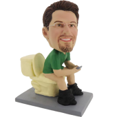 Customized Bobble Head of Man on Closetool