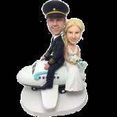 Couple on Plane Custom Bobblehead