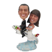 Couple on Plane Personalized Bobbleheads