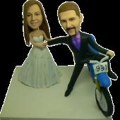 Groom on Bike Wedding Bobbleheads
