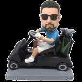 Man in Golf Car